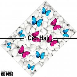 Beyaz Taş Pembe Mavi Kelebek Dekoratif Halısı-CD1453