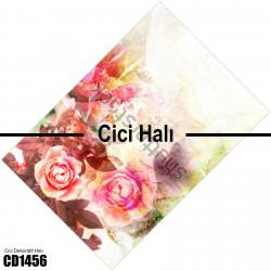 Açık Tonlarda Büyük Çiçek Dekoratif Halısı-CD1456