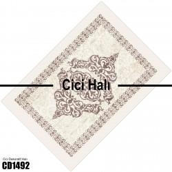Açık Kahverengi Kenar Motifli Dekoratif Halısı-CD1492