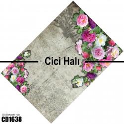 Açık Zemin Çift Kenar Çiçek Demeti  Halısı-CD1638