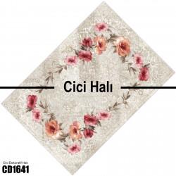 Açık Zemin Çiçek Çerçeve  Halısı-CD1641