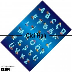 Mavi Zemin Harfler ve Sevimli Arabalar Erkek Çocuk Odası Halısı-CE104