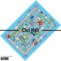 Mavi Zemin Yol ve Şehir Erkek Çocuk Odası  Halısı-CE109