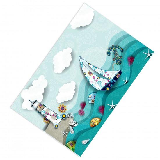 Dalgalı Deniz Erkek Çocuk Odası  (Deniz Kabuğu, Deniz Feneri, Deniz Yıldızı, Çapa Balıklar, Yelkenli, Gemici) Halısı-CE12