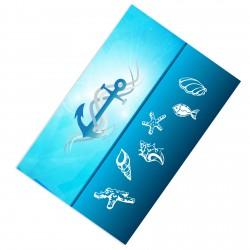 Büyük Çapa, Deniz Kabukları, Deniz Yıldızları ve Balık Desenli Denizci / Gemici Erkek Çocuk Odası  Halısı-CE18