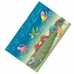 Deniz Altı Şehiri, Ahtapot, Kaplumbağa, Balık, Yengeç, Deniz Kabuğu ve Sevimli Yılan Desenli Erkek Çocuk Odası  Halısı-CE20