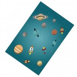 Gezegenler ve Uzay Roketleri Erkek Çocuk  Halısı-CE238