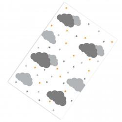 Beyaz Zemin Bulutlar ve Renkli Yıldızlar Erkek Çocuk  Halısı-CE264