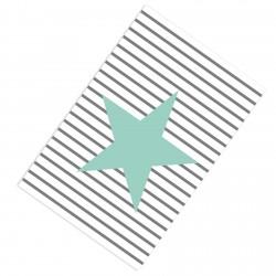 Çizgi Desenli Mint Yıldız Erkek Çocuk Odası Halısı-CE267