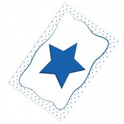 Beyaz Zemin Kenarı Puantiyeli Mavi Yıldız Erkek Çocuk Odası Halısı-CE51