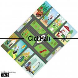 Sevimli Arabalar ve Yol Erkek Çocuk Odası Halısı-CE53