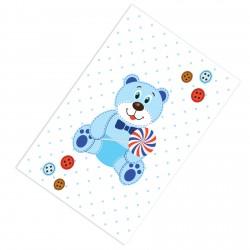 Ayıcık Mavi Puantiyeli Erkek Çocuk Odası  Halısı-CE84