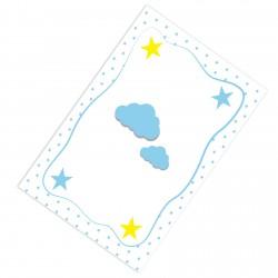 Kenar Puantiyeli Bulut ve Yıldızlar Erkek Çocuk  Halısı-CE92