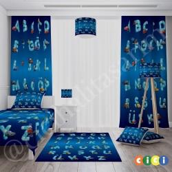 Mavi Zemin Harfler ve Sevimli Arabalar Erkek Çocuk Odası Fon Perdesi-CFP104