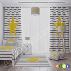 Büyük Sarı Yıldız ve Çizgiler Erkek Çocuk  Abajur-CAJ127