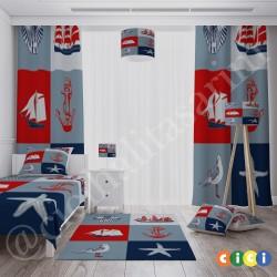 Deniz Kabuğı, Çapa, Gemi ve Dümen Erkek Çocuk Odası Halısı-CE13