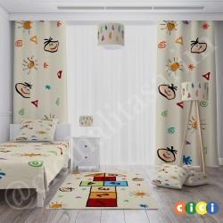 Renkli Sayılar ve Seksek Erkek Çocuk Odası Halısı-CE155