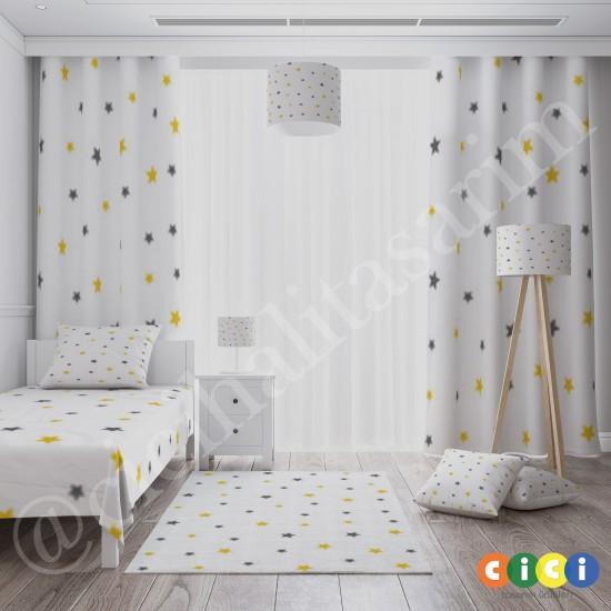 Gri , Sarı Yıldızlar Erkek Çocuk Odası Fon Perdesi-CFP156