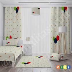 Puantiyeler ve Uçan Balonlar Erkek Çocuk  Halısı-CE180