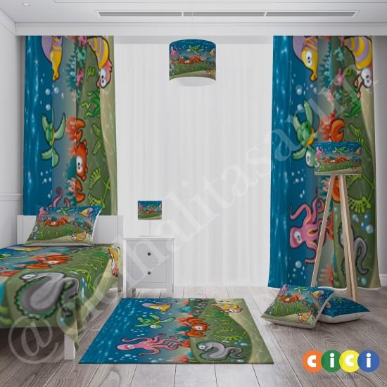 Deniz Altı Şehiri, Ahtapot, Kaplumbağa, Balık, Yengeç, Deniz Kabuğu ve Sevimli Yılan Desenli Erkek Çocuk Odası  Fon Perdesi-CFP20