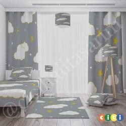 Gri Zemin Sarı Çizgiler Bulutlar Erkek Çocuk  Yatak Örtüsü-CYO207