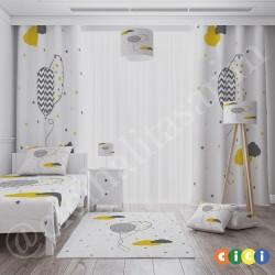 Desenli Balonlar ve Renkli Bulutlar Erkek Çocuk  Abajur-CAJ213
