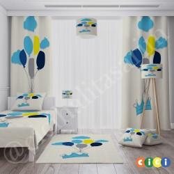 Mavi Taç, Bulutlar ve Renkli Balonlar Erkek Çocuk  Halısı-CE219