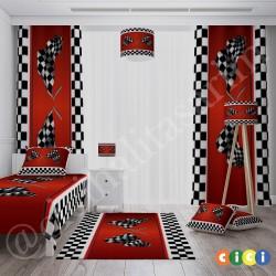 Kırmızı Zemin Yarış Bayrakları Erkek Çocuk Odası Halısı-CE23