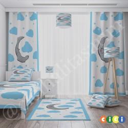 Mavi Bulutlar ve Sevimli Ay Erkek Çocuk  Yatak Örtüsü-CYO237