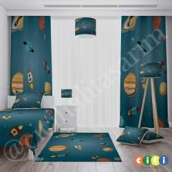 Gezegenler ve Uzay Roketleri Erkek Çocuk  Abajur-CAJ238