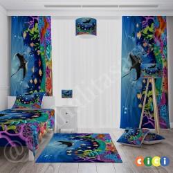 Balık ve Renkli Deniz Altı Erkek Çocuk  Fon Perdesi-CFP240