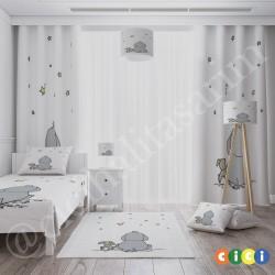 Beyaz Zemin Fil Tavşan ve Yıldızlar Erkek Çocuk  Fon Perdesi-CFP253