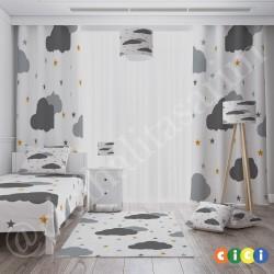 Beyaz Zemin Bulutlar ve Renkli Yıldızlar Erkek Çocuk  Yatak Örtüsü-CYO264