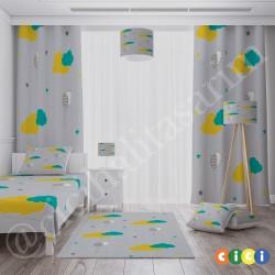 Renkli Bulut ve Yıldızlar, Balonlar Erkek Çocuk Odası  Halısı-CE274