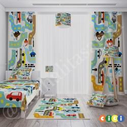 Renkli Arabalar ve Yollar Erkek Çocuk Odası Halısı-CE277