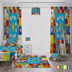 Renkli Alfabe, Hayvan ve Sayılar Erkek Çocuk Odası Halısı-CE278