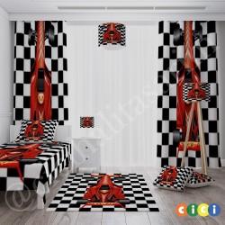 Dama Desenli Kırmızı Yarış Arabası Erkek Çocuk Odası Halısı-CE29