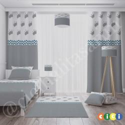 Gri-Beyaz Zemin Taçlar ve Mavi Zigzaglı Erkek Çocuk Odası Halısı-CE293