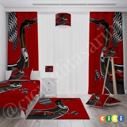 Kırmızı Zemin Yarış Arabaları Erkek Çocuk Odası Halısı-CE294