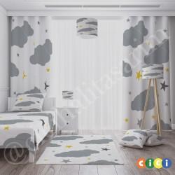 Beyaz Zemin Gri-Sarı Yıldızlar ve Bulutlar Erkek Çocuk Odası Yatak Örtüsü-CYO295