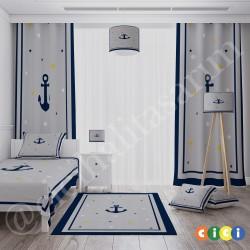 Denizci Çapa ,Sarı-Mavi Yıldızlar Erkek Çocuk Odası Halısı-CE299