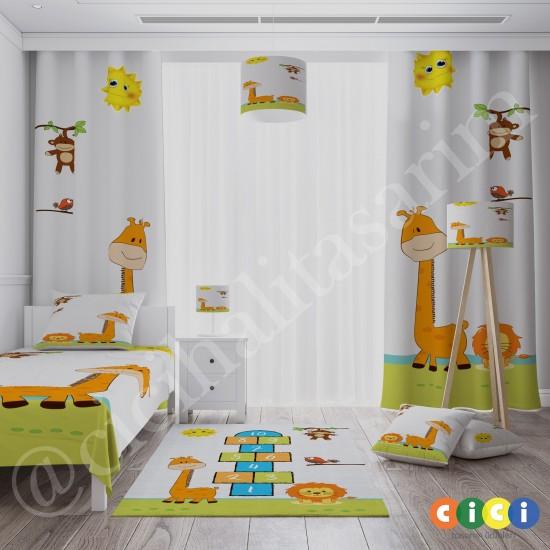 Zürafa, Aslan ve Seksek Erkek Çocuk Odası Halısı-CE301