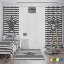 Beyaz Çizgili Zemin Gri Yıldızlar Erkek Çocuk Odası Abajur-CAJ306