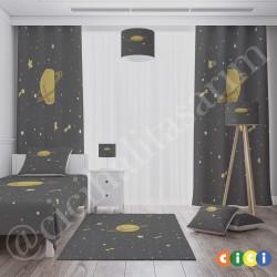 Gezegen ve Sarı Yıldızlar Erkek Çocuk Odası Kırlent-KIR307