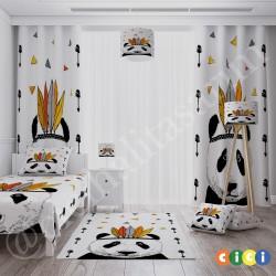 Beyaz Zemin Panda Erkek Çocuk Odası Kırlent-KIR310