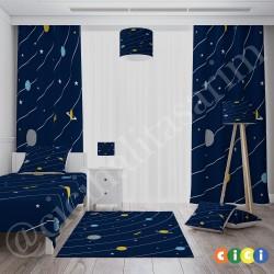 Koyu Zemin Gezegenler Erkek Çocuk Odası Abajur-CAJ311