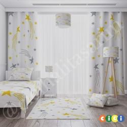 Beyaz Zemin Gri ve Sarı Yıldızlar Erkek Çocuk Odası Abajur-CAJ314