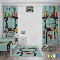 Renkli Binalar,Arabalar ve Sevimli Şehir Erkek Çocuk Odası Halısı-CE320