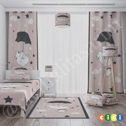 Ayı, Penguen ve Şemsiye Erkek Çocuk Odası  Fon Perdesi-CFP325