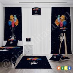 Koyu Zemin Astronot ve Renkli Balonlar Erkek Çocuk Odası Kırlent-KIR327